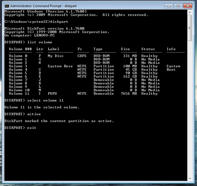 windows 7 command prompt boot